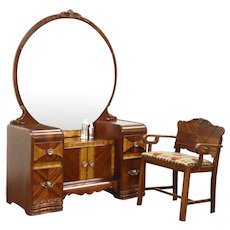 Art Deco Waterfall Vanity or Dressing Table, Mirror & Chair, New Upholstery