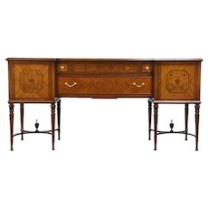 Marquetry Inlaid Satinwood Antique Hepplewhite Sideboard, Server or Buffet