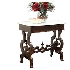Victorian Antique 1860 Chestnut Hall Console Table, Marble Top