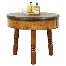 Round Maple Antique Butcher Chopping Block, Kitchen Island, Wine Tasting Table