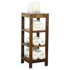 Oak Art Deco Bookshelf, Plant or Bath Stand, Sculpture Pedestal, Scandinavia