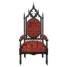 Victorian Gothic Antique 1860 Carved Walnut Chair, New Upholstery