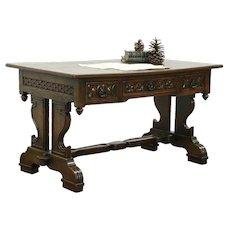Oak Carved Antique Renaissance Design Library Table or Desk, Italy