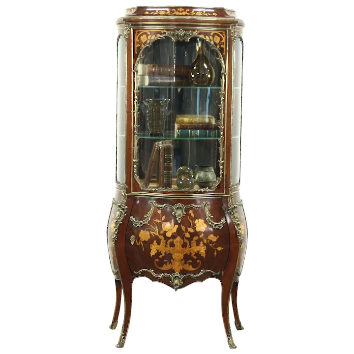 Bombe Marquetry Antique Vitrine Or Curio Display Cabinet, Curved : Harp  Gallery Antique Furniture | Ruby Lane