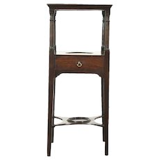 Georgian Period 1790 Antique Mahogany Washstand for Bowl or Chairside Table