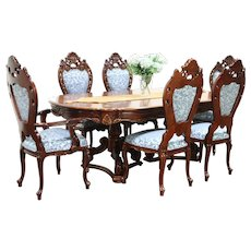 Baroque Carved Cherry Vintage Dining Set, Table, 6 Chairs, Signed Montalban