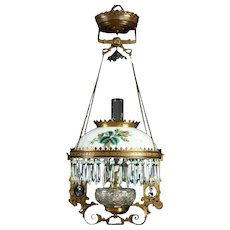 Victorian Antique Hanging Oil or Kerosene Lamp, Hand Painted Rose Glass Shade