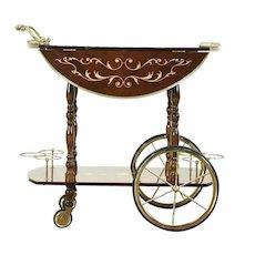 Bar Cart or  Vintage Tea & Dessert Trolley, Marquetry Inlay, Italy