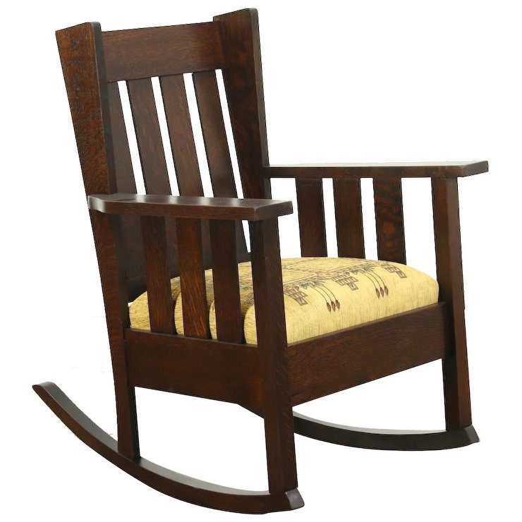 Arts & Crafts Mission Oak Antique Rocker Craftsman Rocking Chair, New  Upholstery - Arts & Crafts Mission Oak Antique Rocker Craftsman Rocking Chair