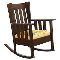 Arts & Crafts Mission Oak Antique Rocker Craftsman Rocking Chair, New Upholstery