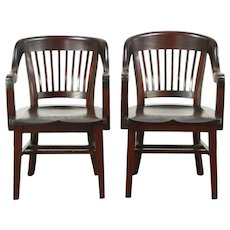 Pair Antique Mahogany 1910 Library or Office Chairs, 1 Taller, Signed Milwaukee