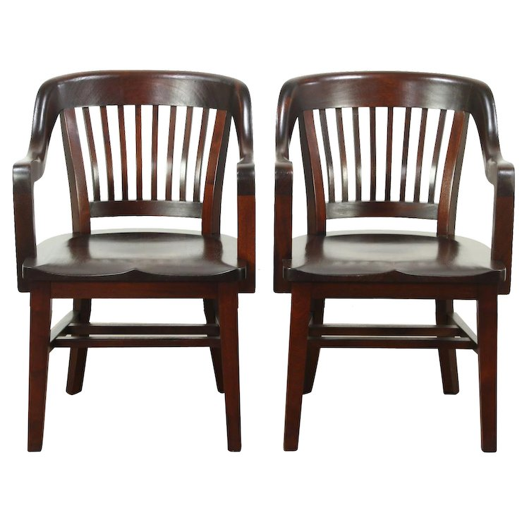 Pair Antique Mahogany 1910 Library or Office Chairs, Signed Milwaukee - Pair Antique Mahogany 1910 Library Or Office Chairs, Signed