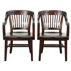 Pair Antique Mahogany 1910 Library or Office Chairs, Signed Milwaukee