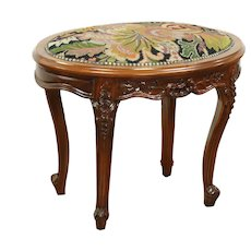 Oval Antique Mahogany Bench or Footstool, Needlepoint Upholstery, France