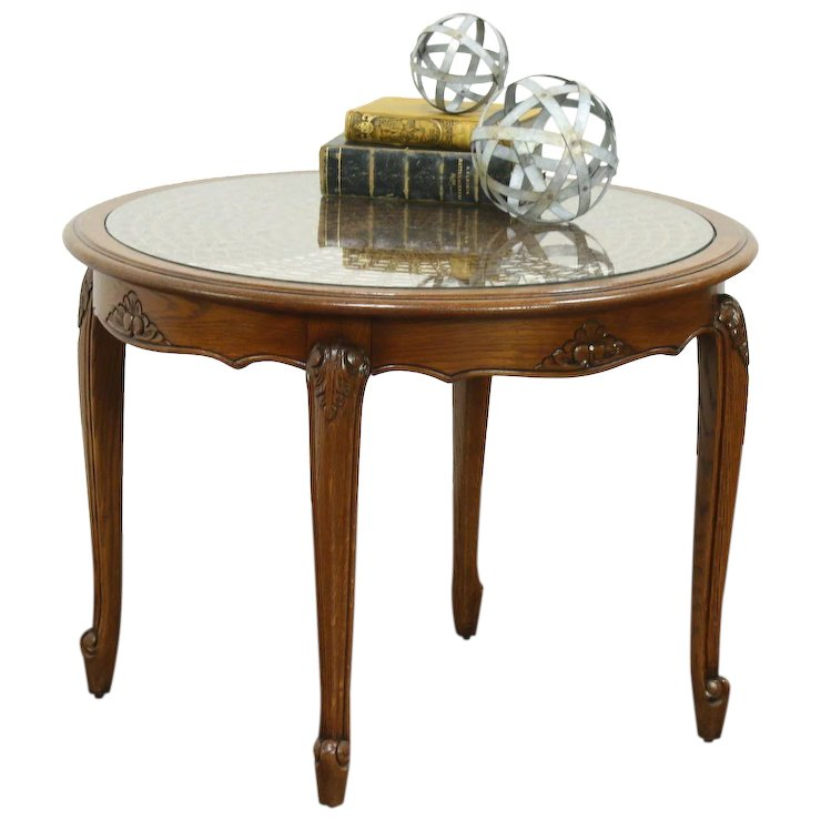Oak Carved Round Vintage Coffee Table, Cane U0026 Glass Top, France