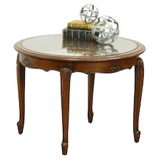 Oak Carved Round Vintage Coffee Table, Cane & Glass Top, France