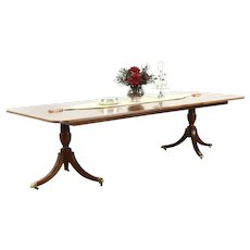 Traditional Banded Mahogany Vintage Dining Table, 2 Leaves, Signed Hekman