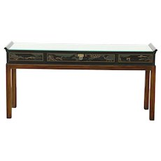 Chinese Painted Lacquer Vintage Sofa or Hall Table, Signed Drexel