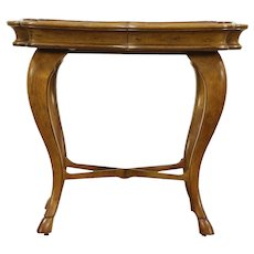 Cherry Vintage Chairside or Serving Table, Horse Hoof Feet Signed Century