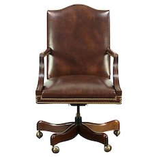 Leather & Mahogany Swivel Vintage Desk Chair, Signed Hickory