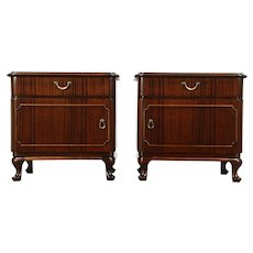 Pair of Mahogany 1930 Vintage Nightstands, Scandinavia