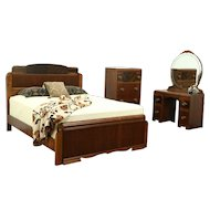 Art Deco Waterfall 1930's Vintage Queen Size Bedroom Set, Vanity, Tall Chest