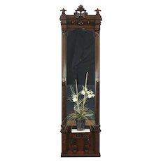 Victorian Eastlake 1880 Antique Hall Pier Mirror, Carved Walnut, Marble Shelf