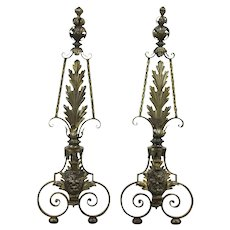 Pair of Wrought Iron Antique Fireplace Andirons, Leaf Design