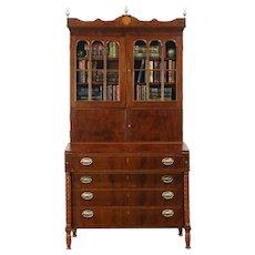 Sheraton 1800 Antique Mahogany Secretary Desk, Bookcase Top, Wavy Glass Doors