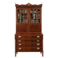 Sheraton 1800 Antique Mahogany Secretary Desk, Bookcase Top, Wavy Glass Doors
