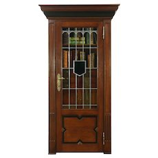 Antique 1890 Oak Carved Bookcase, Leaded Stained Glass Door, Belgium