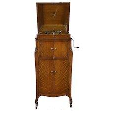 Victor Antique Oak Phonograph, Victrola Wind Up Record Player Model VVXI-V