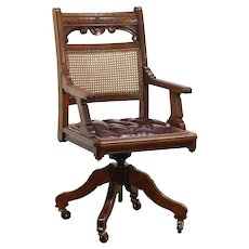 Victorian Eastlake Walnut Antique Swivel Library Desk Chair, Leather Seat