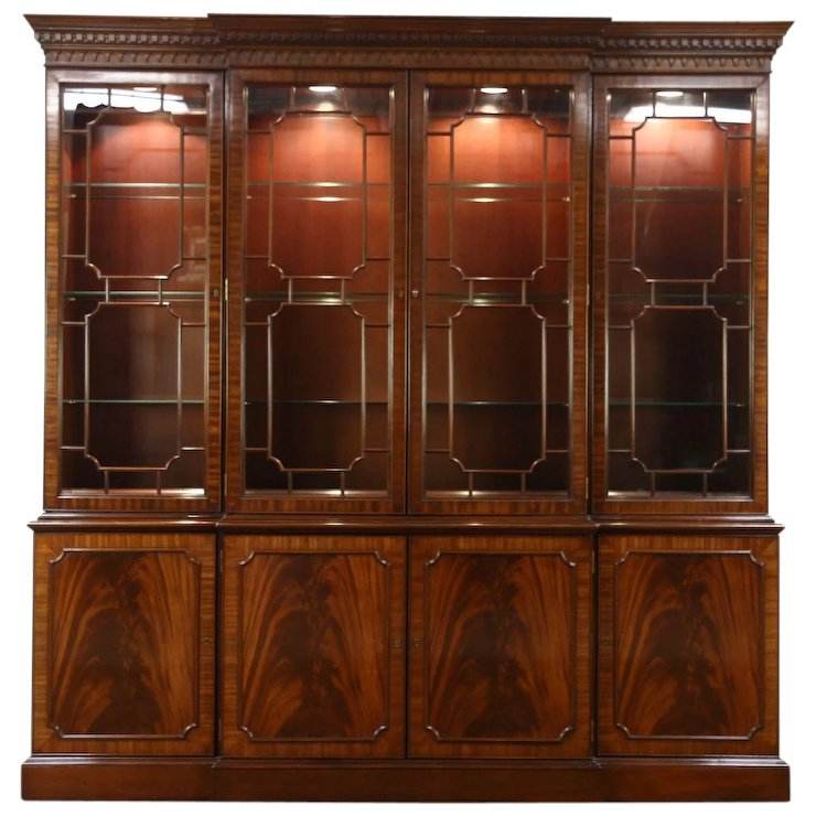 Georgian Style Vintage Breakfront China Cabinet or Bookcase, Signed : Harp  Gallery Antique Furniture | Ruby Lane - Georgian Style Vintage Breakfront China Cabinet Or Bookcase, Signed