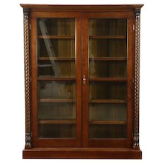 Cherry Antique 1895 Bookcase, Beveled Glass, Adjustable Shelves, Spiral Columns