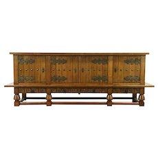 Oak Antique Renaissance Carved Sideboard, Credenza, or TV Console Cabinet