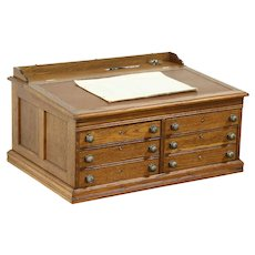 Oak Antique 6 Drawer Spool Cabinet, Collector or Jewelry Chest, Leather Top