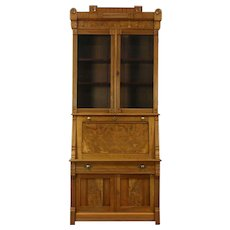 Victorian Eastlake Antique Walnut Secretary Desk & Bookcase, Wavy Glass Doors