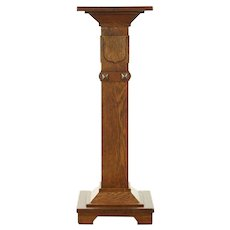 Oak Antique 1900 Sculpture Pedestal or Plant Stand