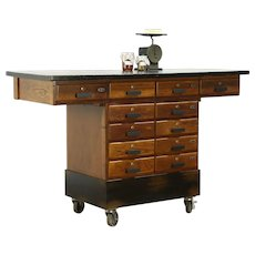 Oak & Black Vintage Lab Counter, 5' Kitchen Island, Wine Tasting Table