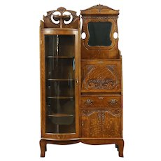 Victorian Oak Antique 1900 Side by Side Secretary Desk & Curved Glass Bookcase