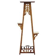 Oak 1900 Antique Triple Plant Stand or Sculpture Pedestal