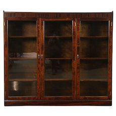 Traditional Antique Mahogany Triple Library Bookcase, Adjustable Shelves