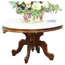Victorian Antique 1875 Oval Walnut Coffee or Cocktail Table, Marble Top