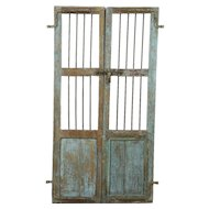 "India  Antique Architectural Salvage Pair 18"" Blue Doors, Iron Bars, Wine Cellar"