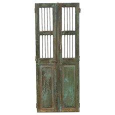 "India Antique Architectural Salvage Pair 14"" Green Doors, Iron Bars Wine Cellar"