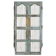 "India Antique Architectural Salvage Pair 22"" Gray Doors, Iron Bars, Wine Cellar"