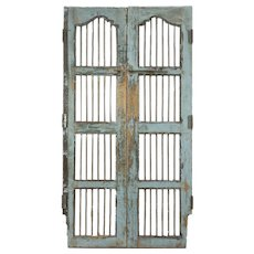 "India Antique Architectural Salvage Pair 22"" Gray Doors, Iron Bars, Wine Cellar"