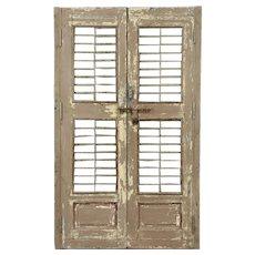"India Antique Architectural Salvage Pair 22"" Brown Doors Iron Bars Wine Cellar"