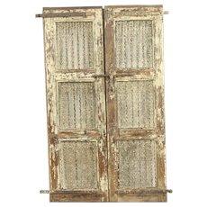 """India Antique Architectural Salvage Pair 20"""" Cream Doors, Iron Bars Wine Cellar"""